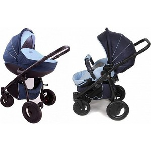 Коляска 2 в 1 Tutis Zippy Sport plus рама, короб,прогулка темно-синий,голубой