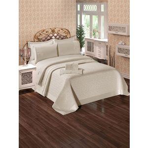 Набор для спальни Do and Co Ipek покрывало +КПБ евро + полотенца кремовый (9021)