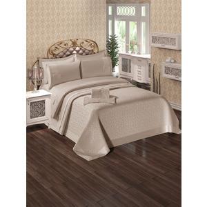 Набор для спальни Do and Co Ipek покрывало +КПБ евро + полотенца кофе с молоком (9021)