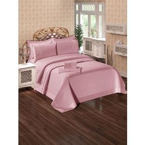 Набор для спальни Do and Co Ipek покрывало +КПБ евро + полотенца пудра (9021)