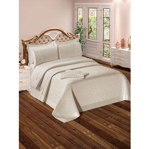 Набор для спальни Do and Co Yagmur покрывало +КПБ евро + полотенца кремовый (9022)