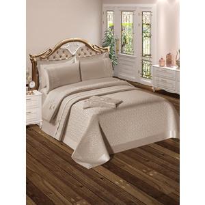 Набор для спальни Do and Co Yagmur покрывало +КПБ евро + полотенца кофе с молоком (9022)