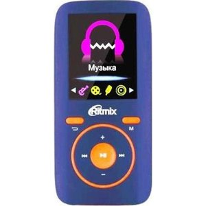 MP3 плеер Ritmix RF-4450 4Gb blue/orange qumo marshmallow 4gb black mp3 плеер