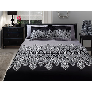 Комплект постельного белья TAC 1,5 сп Edna черный (7029B-8800003268)