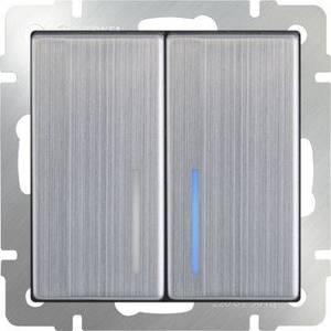 Выключатель двухклавишный проходной Werkel глянцевый никель WL02-SW-2G-2W-LED выключатель двухклавишный наружный бежевый 10а quteo