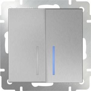 Werkel Выключатель двухклавишный проходной с подсветкой серебряный WL06-SW-2G-2W-LED 4690389053887