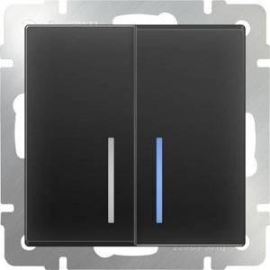 Werkel Выключатель двухклавишный проходной с подсветкой черный матовый WL08-SW-2G-2W-LED 4690389054204