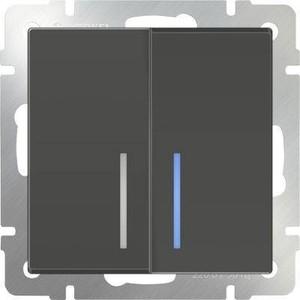 Werkel Выключатель двухклавишный проходной с подсветкой серо-коричневый WL07-SW-2G-2W-LED 4690389054044
