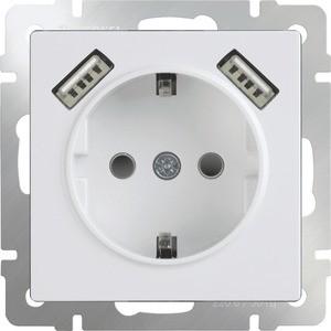 Розетка с заземлением, шторками и USBx2 Werkel белая WL01-SKGS-USBx2-IP20 werkel розетка с заземлением белая werkel wl01 skg 01 ip20 4690389045615