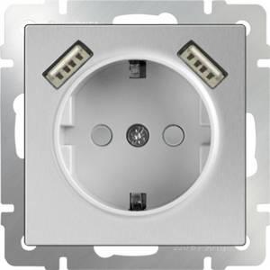Розетка с заземлением, шторками и USBx2 Werkel серебряный WL06-SKGS-USBx2-IP20