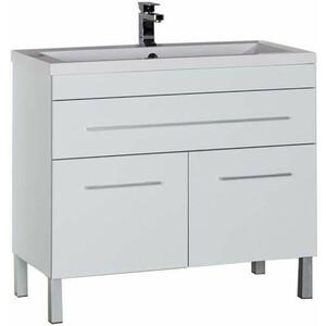 Тумба с раковиной Aquanet Верона 100 напольная, 1 ящик, 2 дверцы, белый (182710+158753) комплект мебели aquanet верона напольная 58 цвет белый