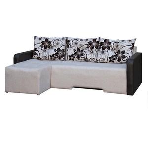 Диван угловой АртМебель Мадрид левый осн - бежевая рогожка, комп - Легенда коричн, подушки - рогожка корич.цветы