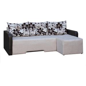 Диван угловой АртМебель Мадрид правый осн - бежевая рогожка, комп - Легенда коричн, подушки - рогожка корич.цветы