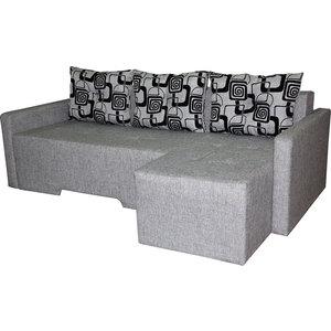 Диван угловой АртМебель Мадрид правый серая рогожка, подушки - рогожка черн.квадр.