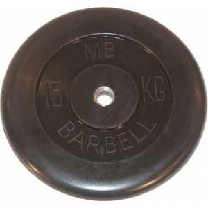 Диск обрезиненный MB Barbell 51мм 15кг черный ''Стандарт''