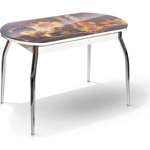 Стол МегаЭлатон Сиена-Мини белый, фотопечать №15 Подсолнухи стол мегаэлатон сиена белый фотопечать 7 кофе