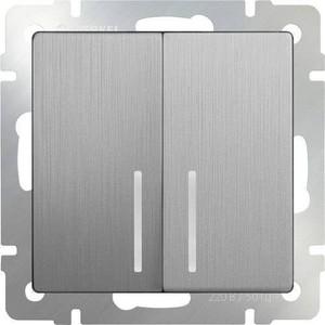 Выключатель двухклавишный проходной Werkel серебряный рифленый WL09-SW-2G-2W-LED