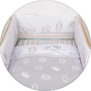 Постельное белье Ceba Baby (Себа Беби) 3 пр. Owls grey Lux принт W-800-044-260-1
