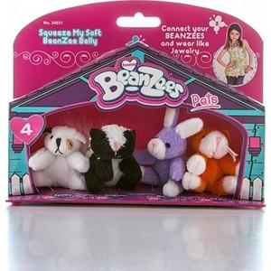 Игровой набор Beanzeez мини плюш в наборе Песик, Скунс, Кролик, Котик игровой набор beanzeez собачка на качелях