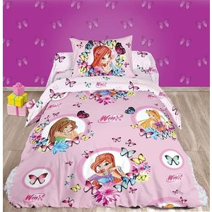 Детское постельное белье Winx Бабочки с наволочкой 50x70 (183458) цена