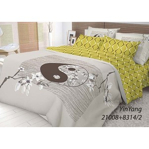 Комплект постельного белья Волшебная ночь Евро, ранфорс, Yin Yang с наволочками 70x70 (702272) постельное белье волшебная ночь комплект постельного белья волшебная ночь семейный yin yang