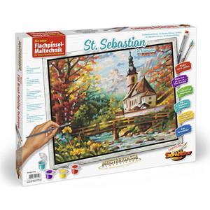 Картина по номерам Schipper 40х50см, Церковь св. Себастьяна в Рамзау, пастозная техника