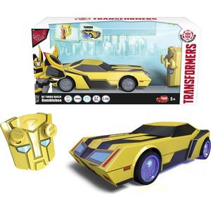 Машинка Трансформеры Dickie на р/у Bumblebee со светом и звуком, 1:24, 18см transformers bumblebee and grindor