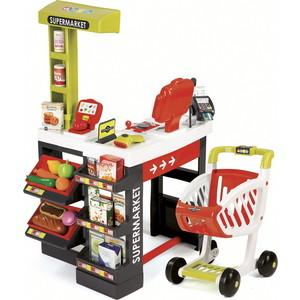 Супермаркет Smoby с тележкой, со звуком, красный