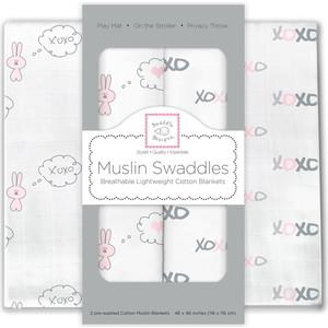Набор муслиновых пеленок SwaddleDesigns 2 шт. - Pink Bunnie XOXO