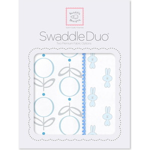 Набор пеленок SwaddleDesigns Swaddle Duo Blue Little Bunnie duo pocopoco