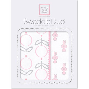 Набор пеленок SwaddleDesigns Swaddle Duo Pink Little Bunnie набор пеленок swaddledesigns swaddle duo seacrystal little fox