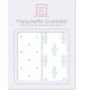 Набор пеленок SwaddleDesigns Marquisette 2-Pack Pstl Blue Little Bunnie & Dottie Star