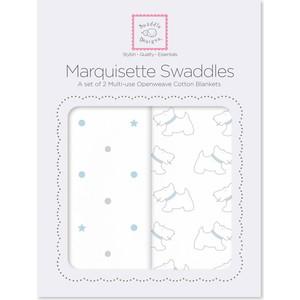 Набор пеленок SwaddleDesigns Marquisette 2-Pack Pstl Blue Little Doggie & Dottie Star