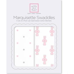 Набор пеленок SwaddleDesigns Marquisette 2-Pack Pstl Pink Little Bunnie & Dottie Heart