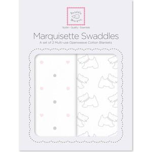 Набор пеленок SwaddleDesigns Marquisette 2-Pack Pstl Pink Little Doggie & Dottie Heart