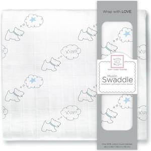 Пеленка муслиновая SwaddleDesigns Pstl Blue Doggie Star