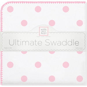 Пеленка фланель для новорожденного SwaddleDesigns Ultimate Big Dots Pink бандана нагрудник swaddledesigns муслиновая pink french dots sdm 541pp