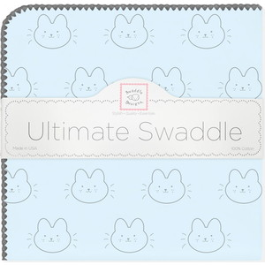 Пеленка фланель для новорожденного SwaddleDesigns Ultimate Bonjour Bunnie Pstl Blue фланелевая пеленка swaddledesigns для новорожденного pink chickies sd 162p