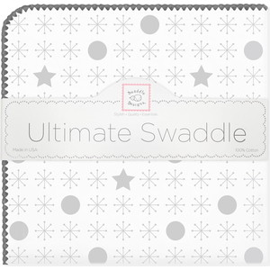 Пеленка фланель для новорожденного SwaddleDesigns Ultimate Jax & Stars Sterling (SD-370ST)