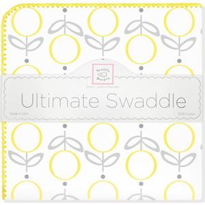 Пеленка фланель для новорожденного SwaddleDesigns Ultimate Lolli Fleur Yellow