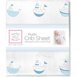 Простынь детская SwaddleDesigns муслиновая Pstl Blue Little Ships