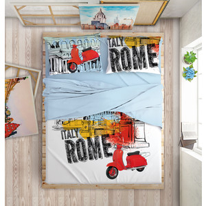 Комплект постельного белья Love me Евро, перкаль, Holliday in Rome (703659) meet me in scotland