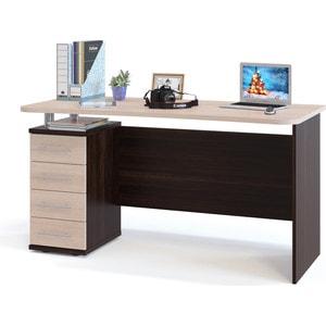 Стол компьютерный СОКОЛ КСТ-105.1 венге/дуб беленый стол компьютерный сокол кст 104 1левый угловой угловой лдсп венге и дуб беленый