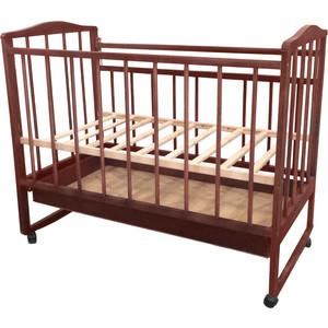 Кроватка Малютка колесо-качалка-ящик темная