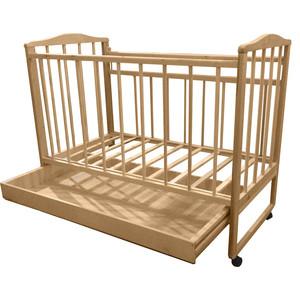 Кроватка Малютка колесо-качалка-ящик светлая