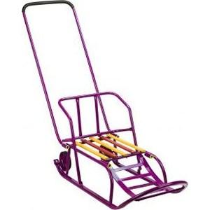 Санки Дэми складные, с переставным толкателем, с колесами, с подножкой, со складной спинкой, малиновые (198-07/3)