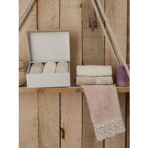где купить  Набор кухонных полотенец Do and Co Belinda бамбук с гипюром 30x50 3 штуки (8586)  по лучшей цене