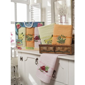 Набор кухонных полотенец Meteor Duble meyveli вафельное с вышивкой 50x70 3 штуки (8523)