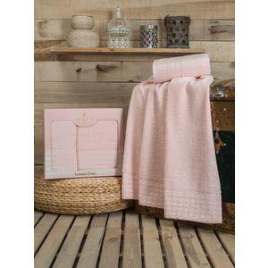 Набор из 2 полотенец Do and Co Dantela с гипюром (50х90/70х140) (8584 розовый) набор из 3 полотенец merzuka sakura 50х90 2 70х140 8432 оранжевый
