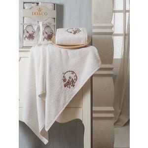Набор из 2 полотенец Do and Co Yasmin с вышивкой (50х90/70х140) (8585 белый)